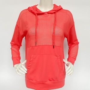 Daisy Fuentes RED Mesh Top Hoodie Sz S NEW